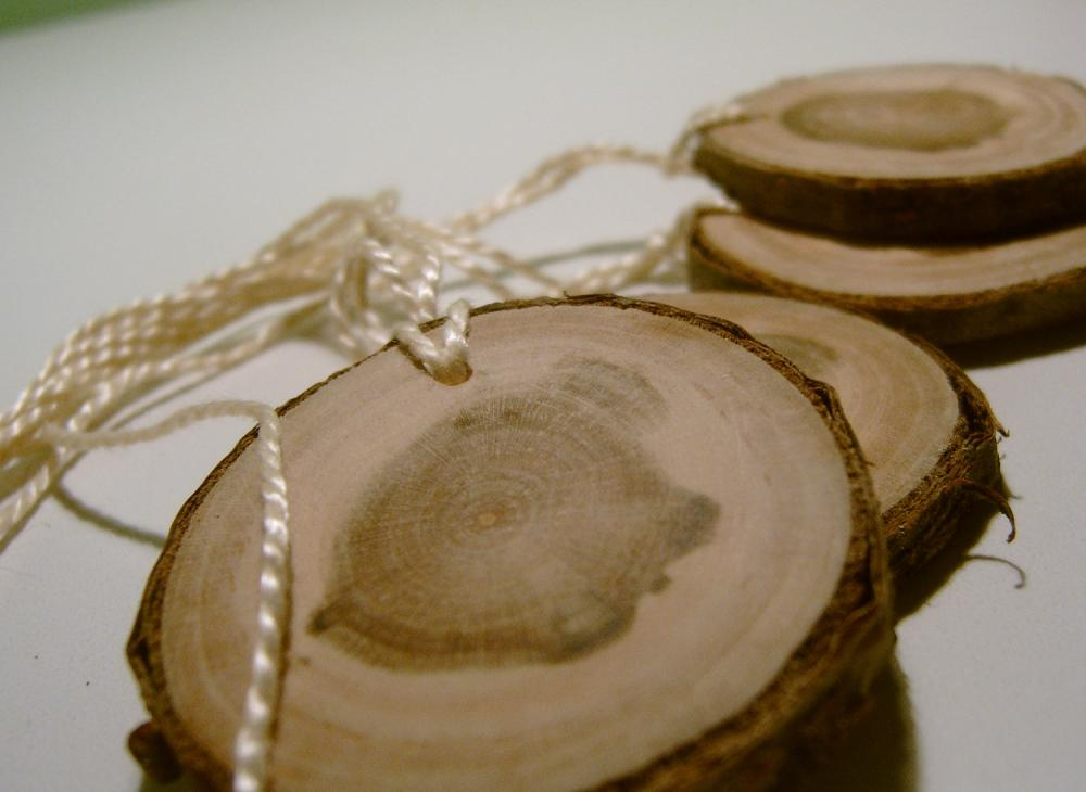 Wooden Tree Branch Hang Tags Ornament Blanks Cherry 2 inch